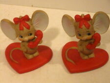 2 Vintage Lefton Valentine Mouse Figurines Red Heart Telephone.