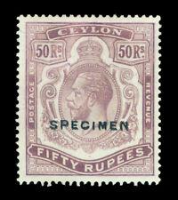 "CEYLON 1924  KGV 50rs dull purple ""SPECIMEN"" ovpt. Sc# 245 (SG 358)  mint MNH VF"