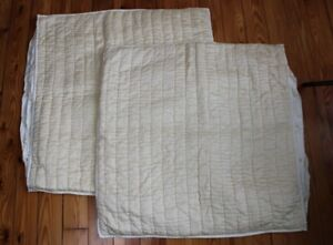 "Pottery Barn Set 2 Ivory Silk Cotton Pick Stitch Quilt Pillow 26"" Euro Sham Case"