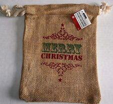 """CHRISTMAS Reusable Burlap Sack  MERRY CHRISTMAS   9.5"""" x 7"""""""