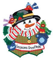 Mary Maxim Seasons Greetings Snowman Plastic Canvas Kit