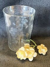 Vintage Small Hand blown Cordial Liqueur Glass Etched Grape Clusters on Side