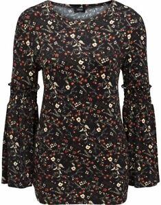 Floral Printed Smocked Long Sleeve Top - Black/Orange S - Ladies Womens - Klass