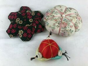 VINTAGE - 3 LOVELY PIN CUSHIONS 2 FLORAL AND 1 ORIENTAL