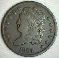 1834 1/2C Classic Head Half Cent Copper US Type Coin Fine Damaged Obverse