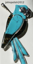 Baltic Amber and Turquoise Parrot Pendant on Silver 925