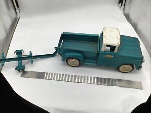Vintage 1959 Tonka Mound Minn BLUE Step-side Pickup Truck Pressed Steel Toy Boat