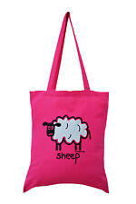 NEW TOTE BAG: SHEEP hot Pink, 100% cotton