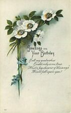 DB Postcard K058 Greetings on Your Birthday White Wild Roses Blue Forget Me Nots