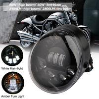 Schwarz Motorrad LED Oval Scheinwerfer Für Harley Davidson VRSC V-rod