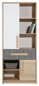 Aygo Tall Modern Bookcase Shelving Unit Storage Cabinet in White & Oak & Grey
