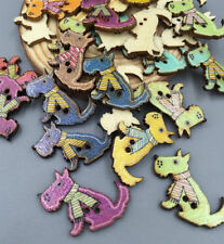 20 Wooden Buttons Puppy dog Sewing Scrapbooking Decoration Crafts 2 holes 28mm