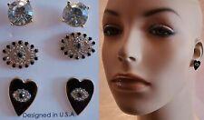 NEW EVIL EYE RHINESTONE CRYSTAL BLACK HEART STUD EARRING TRIO SET