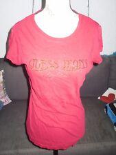 T-shirt rouge foncé doré strass femme GUESS taille M