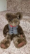 "Hallmark Cards Plush Brown Teddy Bear With Glasses-13"" Beautiful Exc Cond."