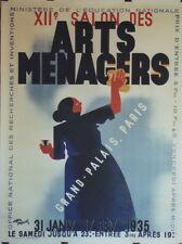 """""""XII° SALON DES ARTS MENAGERS"""" Affiche origin. entoilée Litho Roger PEROT 1934"""