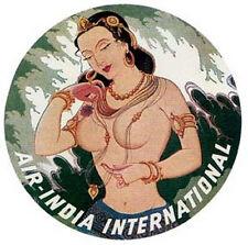 Air India  1950's Vintage-Looking  Souvenir  Travel/Bumper Sticker Label Decal