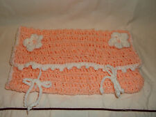 Handmade Crochet Diaper / Wipes Pouch Bag for baby infant Pink Baby shower NEW