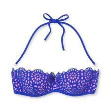 NWT Shade & Shore Blue Pink Cutout Bandeau Bikini Bathing Suit Swim Top Size 34D