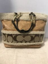 Coach Signature Striped Shearling and Leather Tote Shoulder Bag 10393