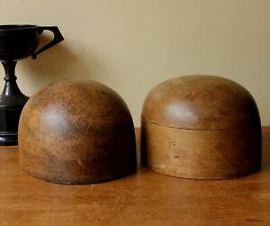 Two Original Vintage Milliners Wooden Hat Blocks. Antique Wood Wig Shop Displays
