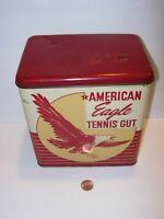 Vintage American Eagle Tennis Racket Racquet Gut EMPTY SPORTS Tin METAL 7X7
