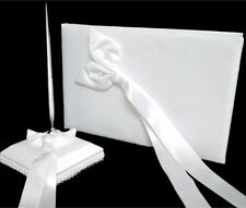 White Wedding Guest Register Comment Book Silver Pen Set White Sach Bow Ribbon