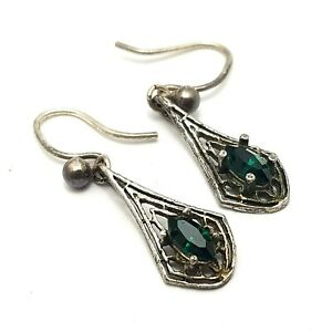 Vintage Solid Silver Marquise Cut Emerald Green  Paste Earrings