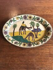 Vintage Brass Tray With Egyptian Theme Hand Painted