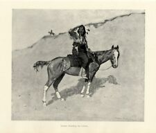 FREDERIC REMINGTON INDIAN WARRIOR ON HORSEBACK HOSTILES WATCHING THE COLUMN