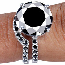 925 Silver Bridal Ring Size 7 6.51 Ct Black Color Moissanite Diamond Round