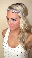 Silver Diamante Diamond Vintage Hair Head Band Bride Bridal 1920's Great Gatsby