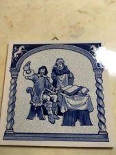 "Delf Holland Handmade Tile ~ Scientist Science Medicine ~ 6"" x 6"" Blue Pottery"