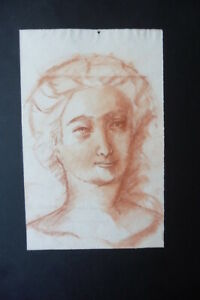 FRENCH SCHOOL 19thC - PORTRAIT OF A WOMAN - FINE RED CHALK DRAWING