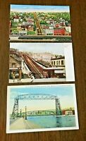 3 OLD Postcards, DULUTH, MN, Lift Bridge and 2 of The Incline, 1910-1940's