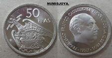 FRANCO. ESCASA moneda de 50 Pesetas PROFF año 1957 en estrella 74. AUTENTICA.