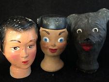 Lot de 3 têtes Marionnette Ancienne Guignol Théatre Jouet Antique French Puppet