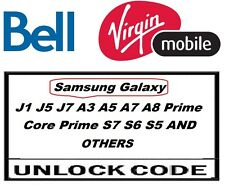 Unlock Code Samsung Galaxy Note 5 4 3 S6 S5 S4 S3 Core Mini Bell Virgin Canada