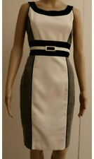 White House Black Market Dress Size 10-12 US 6 White Grey Black Shift Designer
