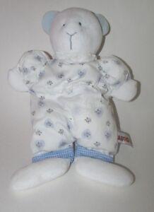Aurora A&A Baby Plush white first teddy bear blue purple hearts flowers FLAW