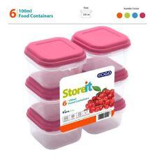 6x 100 ml privo di BPA Piccolo Contenitore per Cibo Snack DADO FRUTTA porzione COPERCHIO scatola di immagazzinaggio