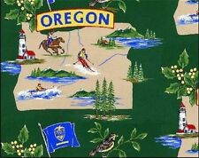 Beaver State of Oregon Map Tourism Fleece Fabric Print by the Yard A248.03