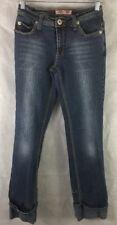 "Vanilla Star Jeans W/  Cuffed Slit Legs Stretch Skinny SZ 3 Inseam 30"" Low Waist"