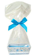 10 x MINI Baby Shower Gift Kits - LITTLE BOY BLUE Cardboard Tray, Cello Bag, Bow