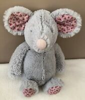 Jellycat Medium Bashful Blossom Grey Mouse Soft Toy Comforter Pink Floral