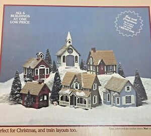 Greenleaf Village 6 Buildings 1983 Complete Church Christmas House Model Kit