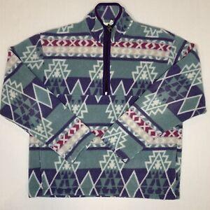 Woolrich Sample Sweater Medium M Blue Green Outdoors Pullover Mens 90s Fleece