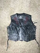 SHAF Leather Fringe Womens Rose Inlay Black Leather Motorcycle Vest - Medium