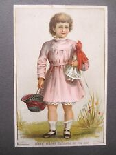 Antique Birthday Card Hildesheimer & Faulkner Little Girl Doll Victorian Chromo