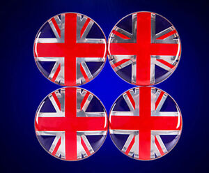 56mm Red Union Jack British UK Metal Wheel Hub Cap Sticker Badge Emblem Decal